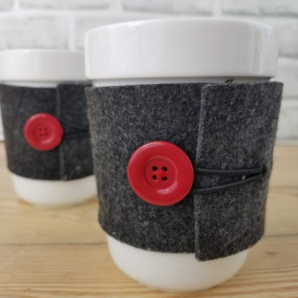 Starbucks Set of Cups with Felt Button Sleeves